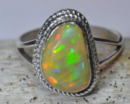 7.5SZ BRIGHT ETHIOPIAN WELO OPAL HIGH QUALITY .925 STERLING RING