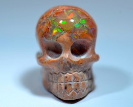 30CT MEXICAN UNIQUE EXTREMELY BRIGHT CARVED DRILLED SKULL  PENDANT