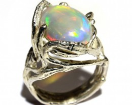 Cts 37,10 Silver Ring  whit Ethiopian Wello Opal