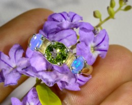 6.5 SIZE PERIDOT AND SOLID OPAL CRYSTAL SILVER RING-[SOJ6329]5