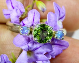 7 SIZE PERIDOT AND SOLID CRYSTAL SILVER RING-[SOJ6335]