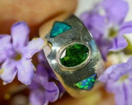 5.5 RING SIZE CHROME DIOPSIDE INLAY OPAL RING [SOJ6343]