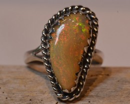Sz7  PINK  PINFIRE  ETHIOPIAN OPAL QUALITY .925 STERLING RING