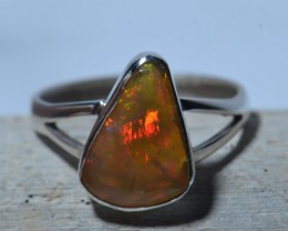Sz7  SOLID  ETHIOPIAN OPAL QUALITY .925 STERLING RING