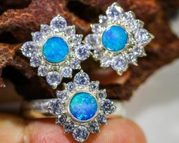 40.80 CTS OPAL SET-RING AND EARRINGS-SILVER -IDEAL GIFT. [SOJ6355]