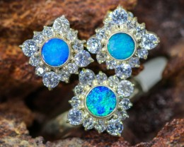 39.55 CTS OPAL SET-RING AND EARRINGS-SILVER -IDEAL GIFT. [SOJ6356]