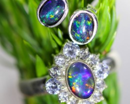 24.25 CTS OPAL SET-RING AND EARRINGS-SILVER -IDEAL GIFT. [SOJ6367]