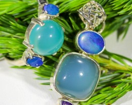 41.40 CTS OPAL SET-RING AND PENDENT-SILVER -IDEAL GIFT. [SOJ6372]