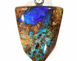 14ct 22x17mm Crystal Pipe Boulder Opal Pendant [BOP-057]