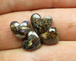 O/L 12cts. 4 X DRILLED LOVELY BOULDER OPALS.