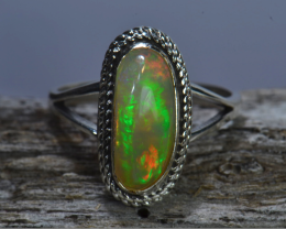 Sz6.5 Bright Solid Natural Multicoloured Opal .925 Silver Ring