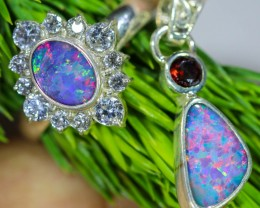 27.90 CTS OPAL SET-RING AND EARRINGS-SILVER -IDEAL GIFT. [SOJ6379]
