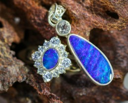 32.00 CTS OPAL SET-RING AND EARRINGS-SILVER -IDEAL GIFT. [SOJ6382]