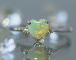 Cute  Heart shape Fire Crystal opal in 14k white gold Ring   SU1024