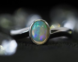 Cute  Crystal opal in 14k white gold Ring   SU1025