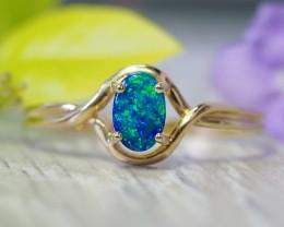 Cute  Opal Doublet opal in 14k Yellow  gold Ring   SU1027