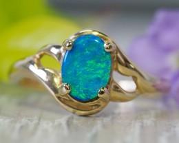 Cute  Opal Doublet opal in 14k Yellow  gold Ring   SU1028