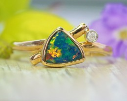 Cute  Opal Doublet opal in 14k Yellow  gold Ring   SU1030