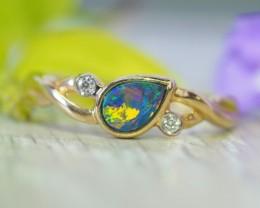 Cute  Opal Doublet opal in 14k Yellow  gold Ring   SU1031