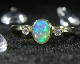 Cute  Opal fire Crystal  opal in 14k Yellow  gold Ring   SU1034