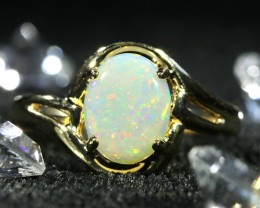 Cute  Opal Crystal  opal in 14k Yellow  gold Ring   1036