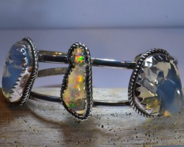 50ct NR Auction Mexican Opals .925  Sterling  Quality Bracelet
