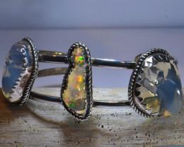 50ct NR Auction Mexican Opals Specimen Sterling  Quality Bracelet