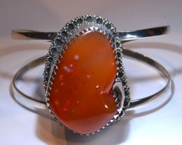 150ct NR Auction Mexican Fire Opal  Sterling  Quality Bracelet