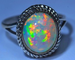 Sz6.5 Awesome Quality Ethiopian Opal Sterling Ring