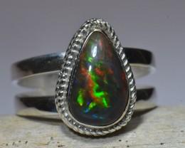 Sz12 Black Base Ethiopian Opal Sterling Ring