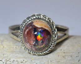 Sz9 Mexican Matrix Opal Quality Ring
