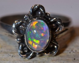 Sz7 MEXICAN WATER TRANSPARENT OPAL  .925 STERLING RING NON HYDROPHANE