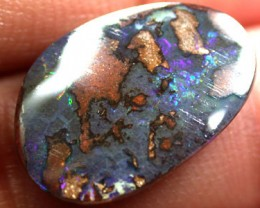 BEAUTIFUL DEEP MULTI FLASH QUILPIE BOULDER OPAL 5.2 CTS Q307