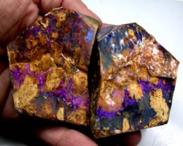VIDEO HUGE SPLIT  BOULDER OPAL VEGTABLE FOSSIL 18.2 0Z OT140