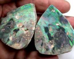 PAIR SPLIT  BLACK OPALS  3.60 0Z  OT142