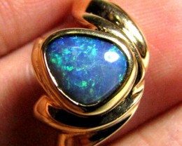 GORGEOUS GREEN SHIMMER BLACK OPAL GOLD RING SIZE 8.5 SCO1942