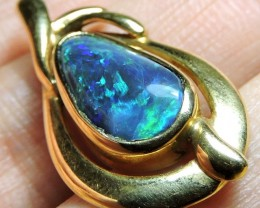 BRILLIANT GREEN SPARKLE BLACK OPAL PENDANT 3.20 CTS SCO1995