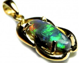 IMPRESSIVE BRIGHT GREEN FIRE BLACK OPAL PENDANT .9CT SCO2001