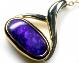 ALLURING RICH DEEP BLUE FIRE BLACK OPAL PENDANT 4 CT SCO2008