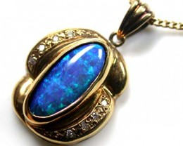 UNIQUE SEA BLUE BLACK OPAL PENDANT 3.20 CT SCO2020
