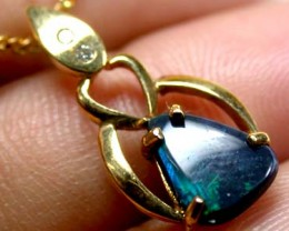 LOVELY SEA GREEN FLASH BLACK OPAL PENDANT 1.4 CTS SCO2024