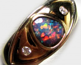 DAZZLING SUNSET RED FIRE BLACK OPAL 18K RING SIZE7.5 SCO2028