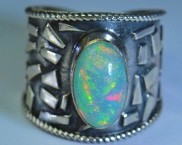 Sz7.5 FULLY SATURATED WELO  OPAL HIGH QUALITY .925 STERLING FABULOUS RING