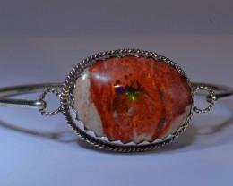83.5ctw Bracelet Mexican Matrix Opal .925 Sterling  Silver Cuff