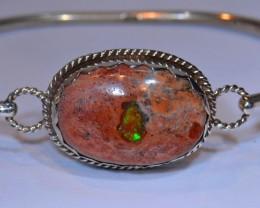 62.5ctw Bracelet Mexican Matrix Opal .925 Sterling  Silver Cuff