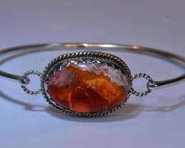 54ctw Bracelet Mexican Matrix Opal .925 Sterling Silver Cuff