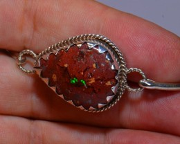 64ctw Bracelet Mexican Matrix Opal .925 Sterling Silver Cuff