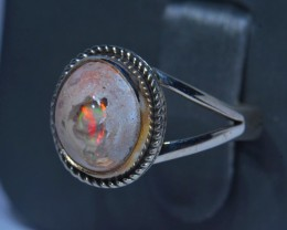Sz8 MEXICAN FIRE OPAL QUALITY .925 STERLING FABULOUS RING