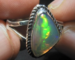 Sz9 SOLID ETHIOPIAN CRYSTAL OPAL HIGH QUALITY .925 STERLING FABULOUS RING