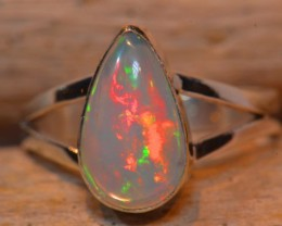 Sz7.5 SOLID ETHIOPIAN CRYSTAL OPAL HIGH QUALITY .925 STERLING FABULOUS RING